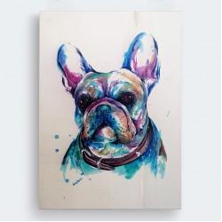 Bulldog Köpek Ahşap Baskı Tablo