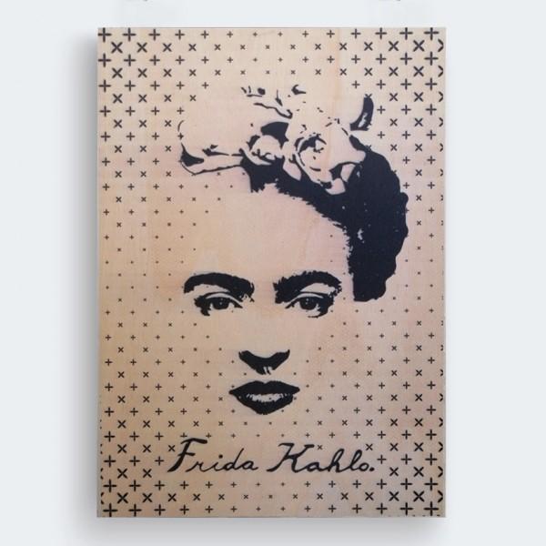 Frida Kahlo Ahşap Baskı Tablo