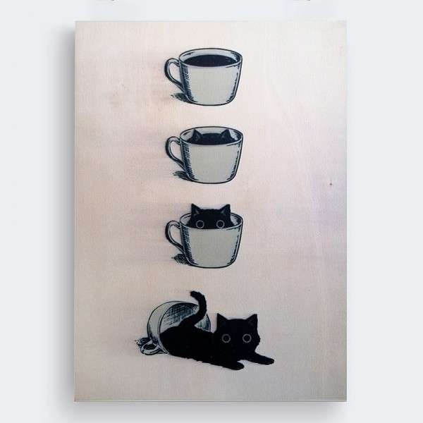 Kahve ve Kedi Ahşap Baskı Tablo