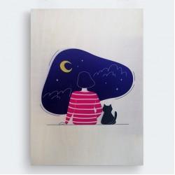 Kedi Kadın ve Gece İllüstrasyon Ahşap Baskı Tablo