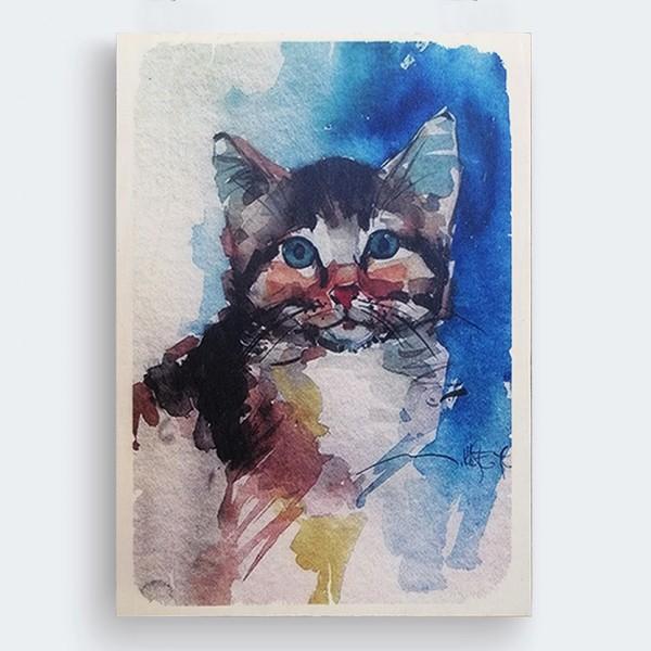 Kedi Sulu Boya İllüstrasyon Ahşap Baskı Tablo
