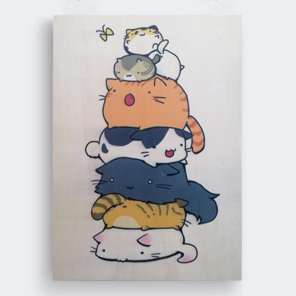 Kediler Ahşap Baskı Tablo