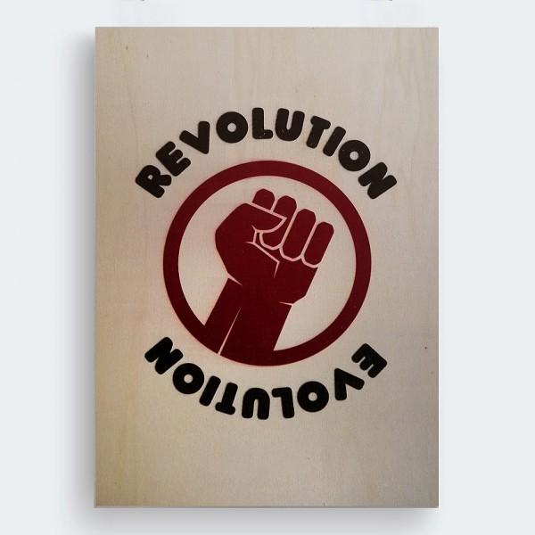 Revolution Evolution Ahşap Baskı Tablo