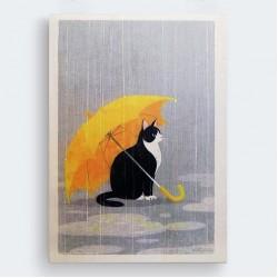 Şemsiyeli Kedi İllüstrasyon Ahşap Baskı Tablo