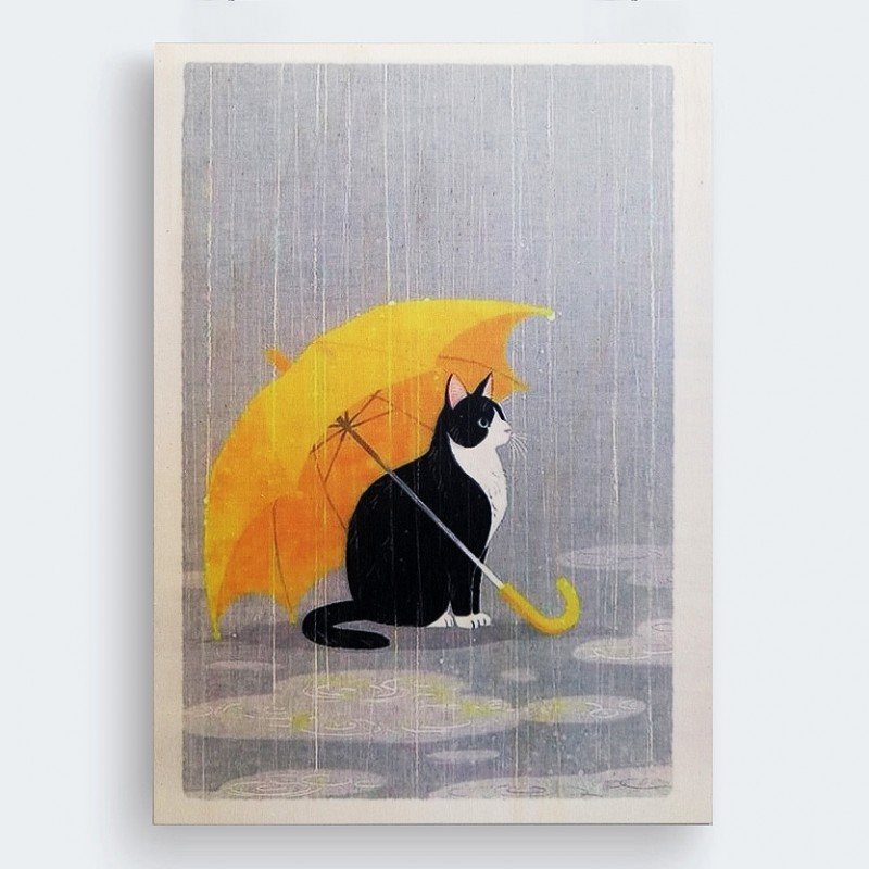 kedi ahşap tablo