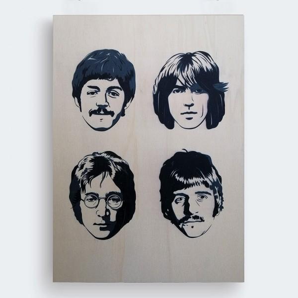 The Beatles Ahşap Baskı Tablo