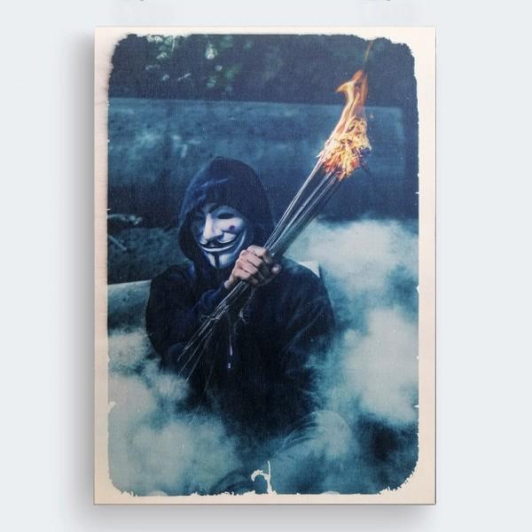 V For Vendetta Ahşap Baskı Tablo